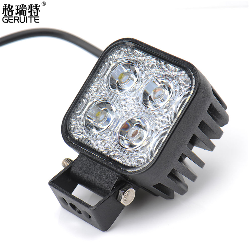 GERUITE 1PCS 12W 4 X 3W Car LED Work Light Square 1200lm As Worklight Flood Light