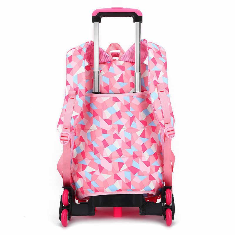 Nowy wymienny torby szkolne dla dzieci z 2/6 koła dla dziewczyn plecak na kółkach na kółkach dla dzieci torba Bookbag podróży bagażu Mochilas