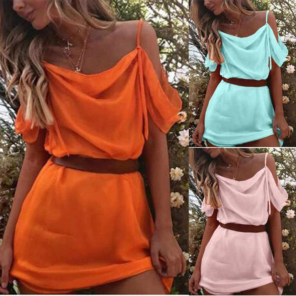 Women's Sexy Off Shoulder Solid Orange Green Pink Strappy Above Knee Slash Neck Beach Bodycon Party Dress Summer Ladies Dresses