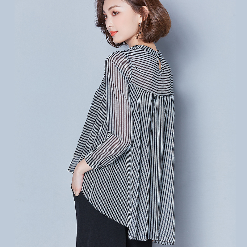 Blouses   Women 2019 New Casual Chiffon Turn-Down Collar Long Sleeve Black And White   Blouse     Shirt   Plus Size Women Clothing Blusas