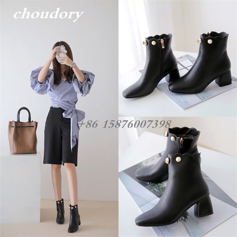 ФОТО Choudory Pearl Shoes Women Boots Thick High Heels Fashion Botas Mujers Zapatos Spring Fashion Ankle Boots String Bead Zip Open