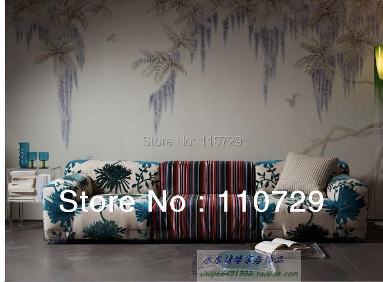 Hand-painted silk wallpaper painting Chinese wisteria hand painted wall paper TV/Sofa/bedroom/living room  wallcovering men contrast stitching elastic foot jeans