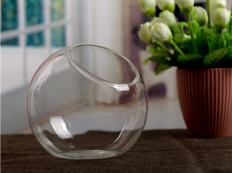 transparent glass vase hydroponic flower vase hanging round glass vases fish tank fishbowl home. Black Bedroom Furniture Sets. Home Design Ideas