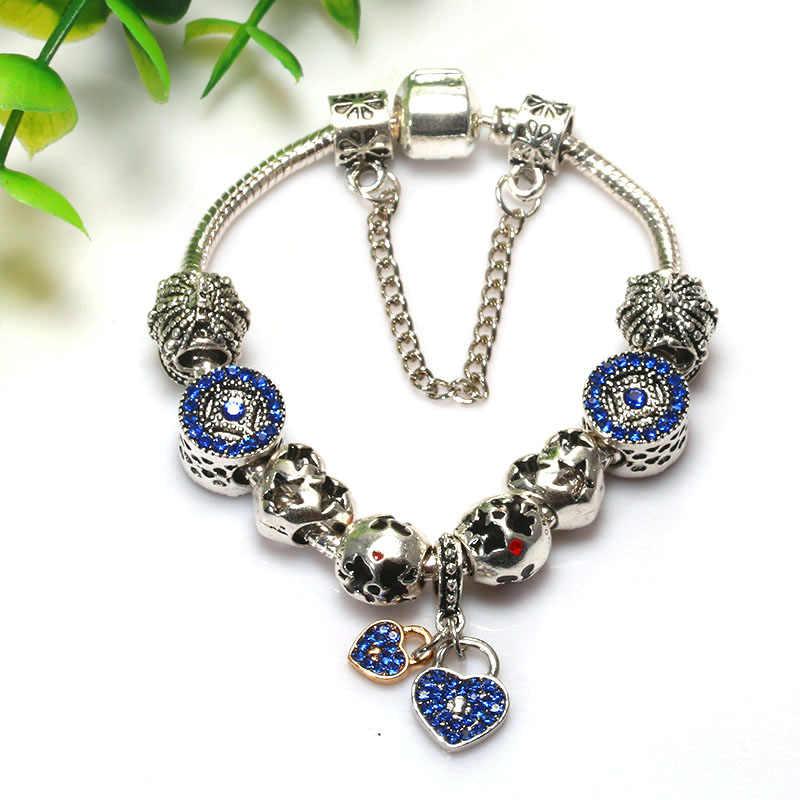 BAOPON Tim Tình Yêu Dangle Charm Bracelet đối với Phụ Nữ Với Crystal Ball Chain Rắn fit Thương Hiệu Vòng Tay DIY Jewelry BR429