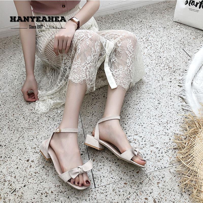 Solid Sandalias De Verano Para Mujer Sweet Mature Sandalias De Tacon Concise Fashion Solid Sandalias De Verano Para Mujer in Low Heels from Shoes