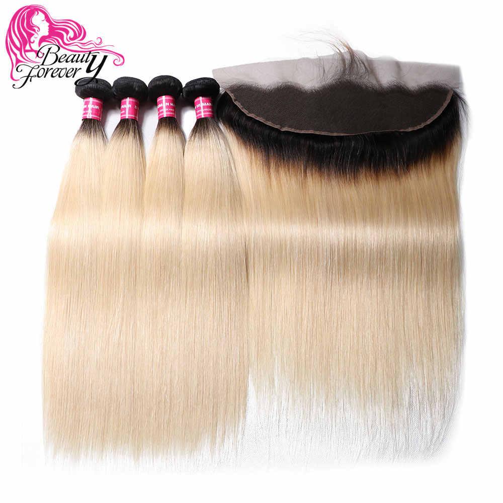 Beauty forever 13*4 кружева фронтальной прямые бразильские косички пучки волос с закрытием бесплатная часть Remy человеческие волосы T1B/613