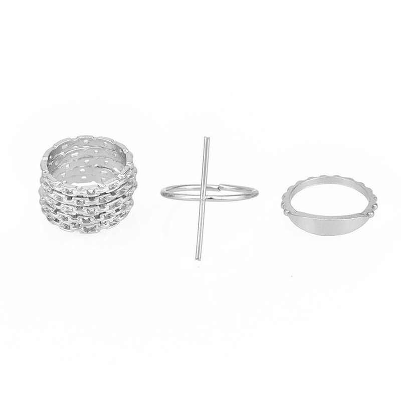 2018 Новый 1 комплект уникальное кольцо в стиле панк серебристые золотые кольца для суставов палец для женщин для суставов пальцев кольца набор женских колец