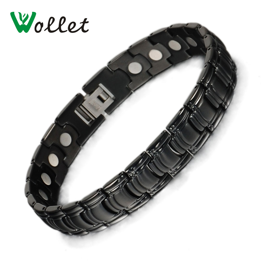 Wollet Mens Healing Christmas Gift High Quality Black Gun Magnetic Pure Titanium Bracele ...