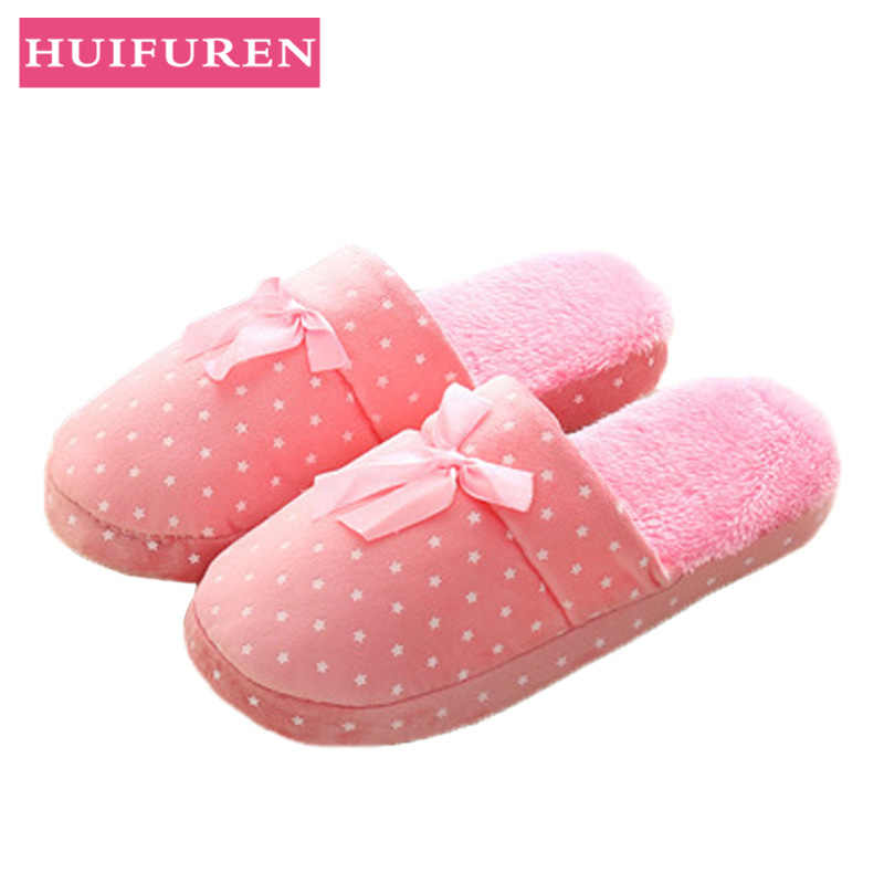 Autumn and Winter Women Indoor Slippers New Butterfly Warm Cotton Slippers Couple Soft Bottom Floor Non-slip Unisex Home Shoes