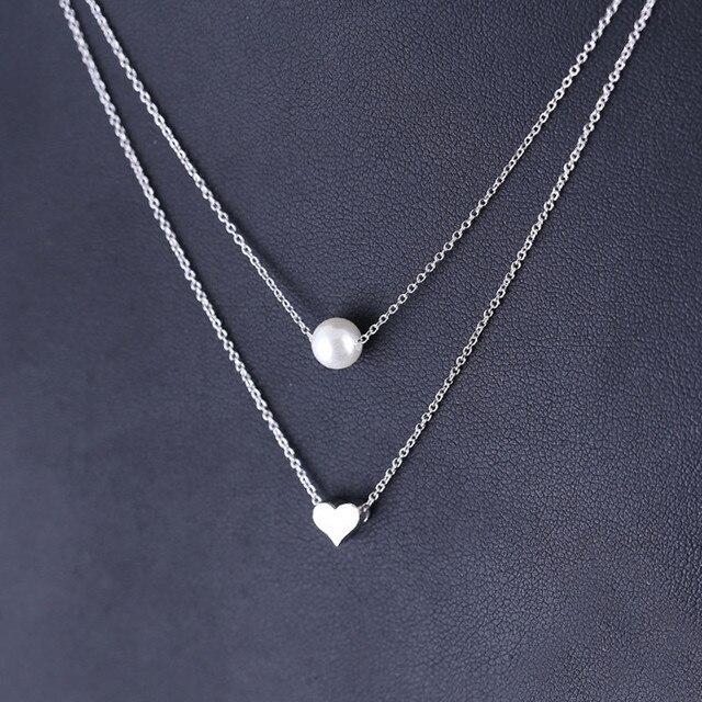 a6c9113a1945 Moda Multilaye Elegante Dulce Corazón plata de Ley 925 Joyas de Plata  Delicada Cadena Colgante Gargantilla