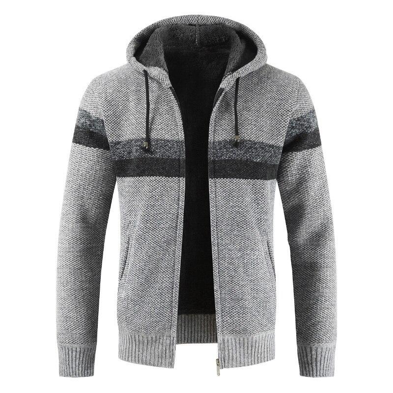 Brand Male full stand collar warmth zipper sweater drop ship Cardigan winter patchwork wool knit men casual top coat plus 3XL