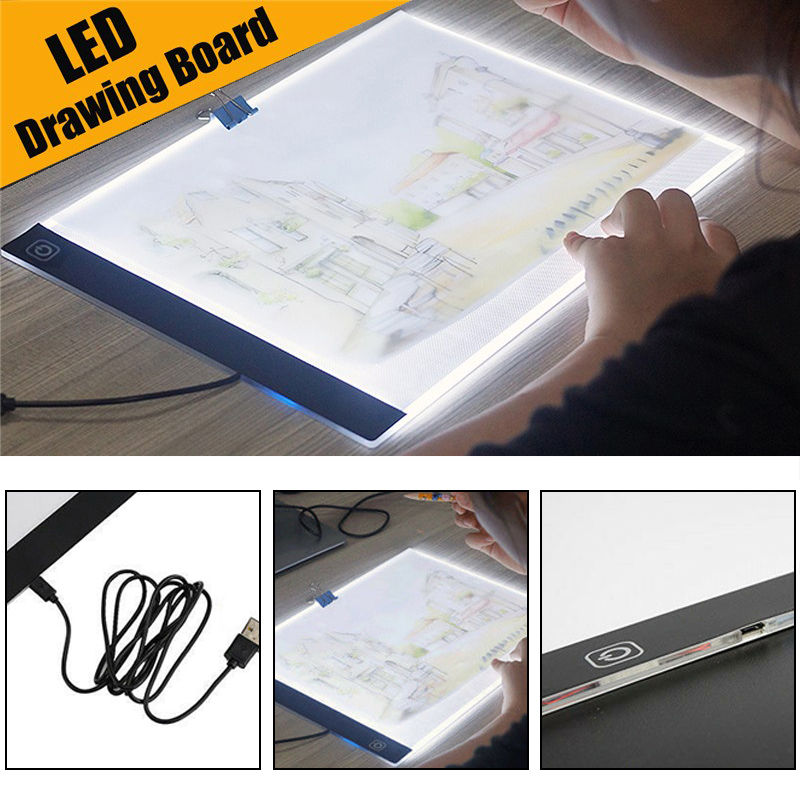 2019 New LED Graphic Tablet Writing Painting Drawing Tablet Tracing Panel Board Display LED Light Digital A4 Copy Pad Box