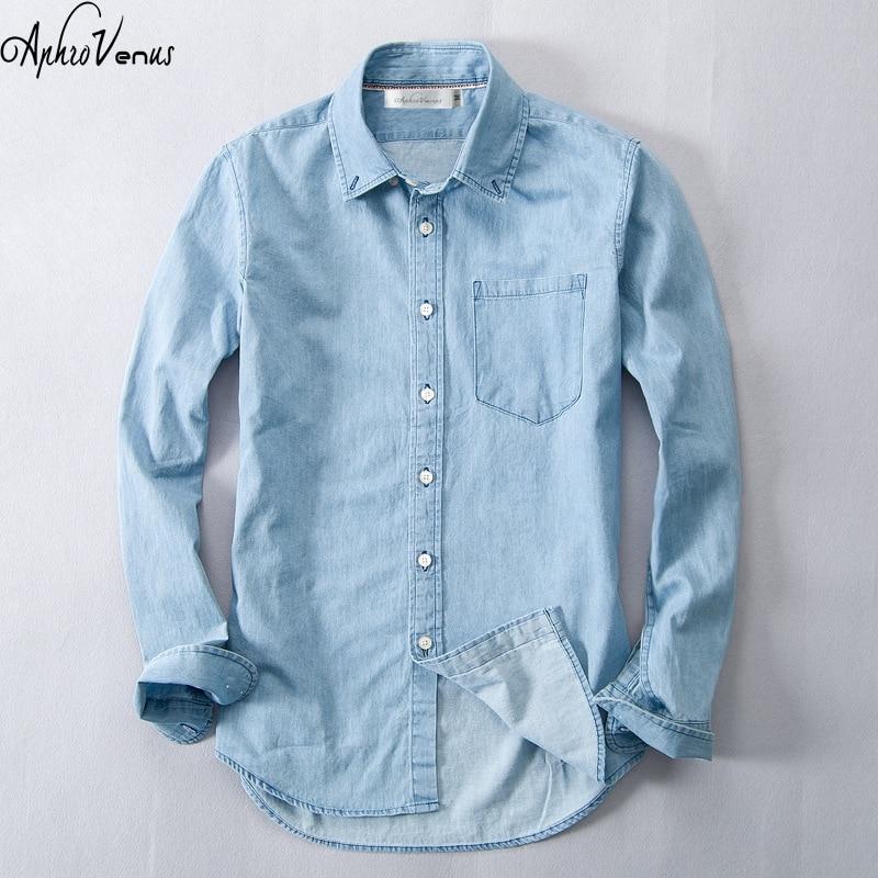 2017New Verano Otoño Camisa de mezclilla azul Hombres Algodón Vintage Camisa azul Tallas grandes Jeans Camiseta de manga larga Men'Vintage Marca Casual
