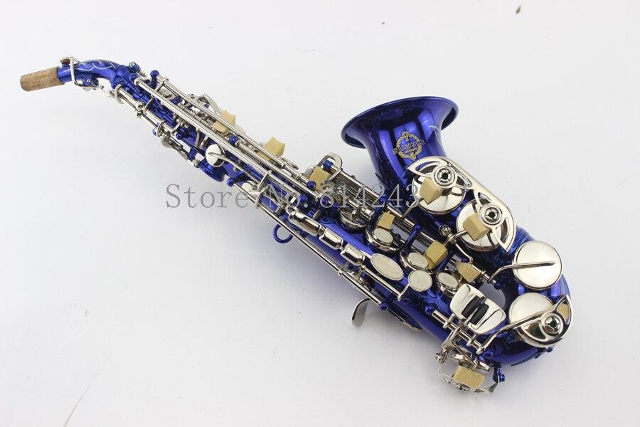 Professionnel Marque Suzuki Petit Détour Bb Soprano Saxophone Dans B-Plat Bleu Bronze Sax Soprano Instrument de musique Avec Le Cas