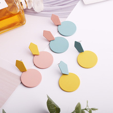 New Fashion Multicolor Pendant Earrings Girls Personality Simple Round Accessories Holiday Gift Party