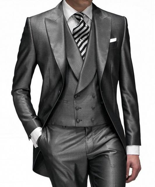 2016 Diseño Único Hombre Trajes Trajes de Boda Para Hombre Alcanzó Solapa Un Botón Esmoquin Padrino de boda de Los Hombres
