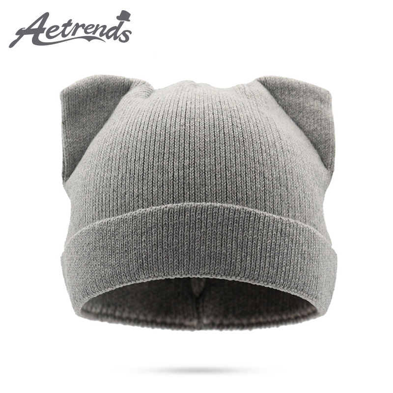 [AETRENDS] 2017 Winter Beanie Hats for Women Autumn Female Caps Beanies Pompom with Top Ball Z-5974 female caps for autumn