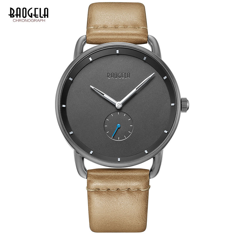 BAOGELA Men's Premium Simple Quartz Watches Casual Leather Strap Minimalism Waterproof Wristwatch For Man 1806Light Brown