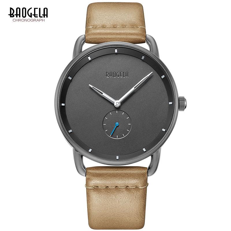 BAOGELA relojes de cuarzo Simple de primera calidad para hombre, reloj de pulsera informal de cuero, minimalismo, impermeable, para hombre, 1806 marrón claro