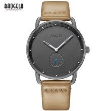 Baogela 남자 프리미엄 간단한 쿼츠 시계 캐주얼 가죽 스트랩 미니멀리즘 방수 손목 시계 남자 1806 라이트 브라운