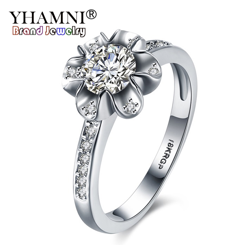 YHAMNI With 18KRGP Stamp Rings Gold Jewelry For Women Set CZ Diamant Flower Ring Gold Color Wedding Engagement Accessories R840