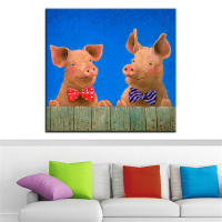 Large Size Printing Oil Painting Pigs Ties Wall Painting Wall Art Decoration Picture For Living Room