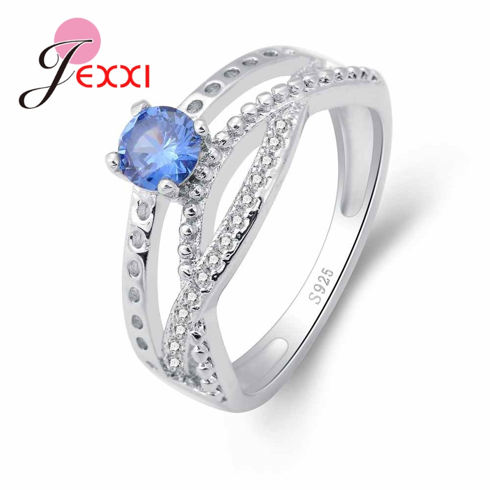 JEXXI Stylish Crossed Women Wedding Banquet 925 Sterling Silver Finger Rings Accessories With Clearly Blue Crystals Hot Selling