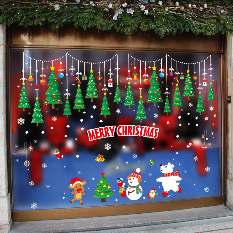 Image 2 - DIY Merry Christmas Wall Stickers Window Glass Festival Decals Santa Murals New Year Christmas Decorations for Home Decor New-in Wall Stickers from Home & Garden
