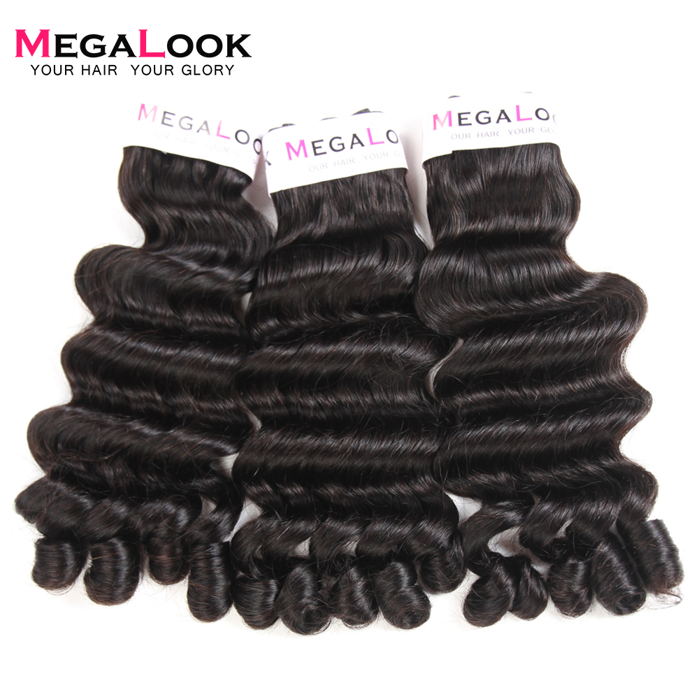 Megalook Brazilian Funmi Curly Fancy Human Hair 3 Bundles with Closure Narutal Color Fumi Remy Hair