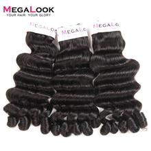 Megalook бразильский Funmi вьющиеся причудливые человеческие волосы 3 Связки с закрытием Narutal цвет Fumi remy волосы расширения