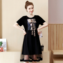 цена Spring and summer new style Large size L-5XL women's dress Mesh splicing temperament casual dress