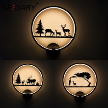 LEDIARY Round Wall Lamp 12W 90V-260V LED Wall Lights Animal Black White Painted Metal Iron Deer Modern Home Decor Lighting 3000K