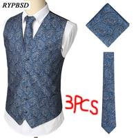 3pcs Mens Suit Vest Classic Paisley Jacquard Waistcoat Vest Handkerchief Party Wedding Tie Vest Suit Pocket Square Set