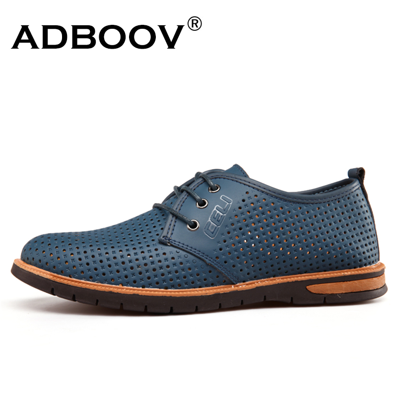 ADBOOV Breathable Leather Casual Shoes Men Spring Summer Man Shoes Round Toe Lace Up Loafers Zapatos Hombre Blue/Green/Red klywoo new white fasion shoes men casual shoes spring men driving shoes leather breathable comfortable lace up zapatos hombre