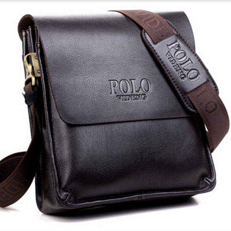 POLO Men Shoulder Bags Famous Brand Casual Business PU Leather Mens Messenger Bag Vintage Men's Crossbody Bag bolsa male handbag