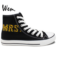 Wen Original Design Custom Hand Painted Shoes Leopard MR MRS UMen Women's Black High Top Canvas Sneakers for Gifts