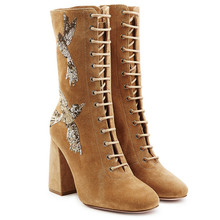 2016 Europe Style Fashion Autum Boots Women's Mid-calf Martin Boots Round-toe Anti-velvet Square High Heels Boots Appliques Boot