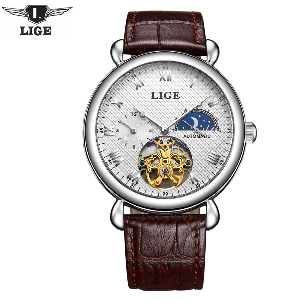 Men Watches LIGE Top Brand Luxury Wrist Watch Moon Phase Tourbillon Mechanical Mens Leather Watch erkek kol saati Montre Homme аксессуар pitatel 12v tsb 039 mak12 33m для makita дополнительный аккумулятор
