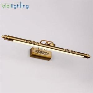 Image 4 - 110V 220V L50cm L70cm L90cm 미국 레트로 청동 램프 led 미러 빛 욕실 캐비닛 허영 메이크업 consmetic 전등
