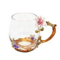 Coffee Mug with Novelty Enamle Charming Flower Design Glass Cups Individual Gift Box Package Perfect Mother's Gift