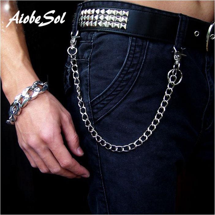 Fashion Punk Hip-hop Trendy Belt jostasvietas vīriešu bikses ķēdes karstā vīriešu džinsi sudraba metāla apģērbu aksesuāri rotaslietas