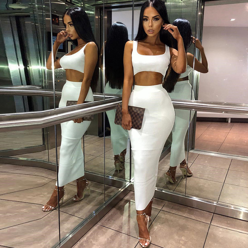 Dulzura neon ribbed knitted women two piece matching co ord set crop top midi skirt sexy festival party 2019 winter clothing 11