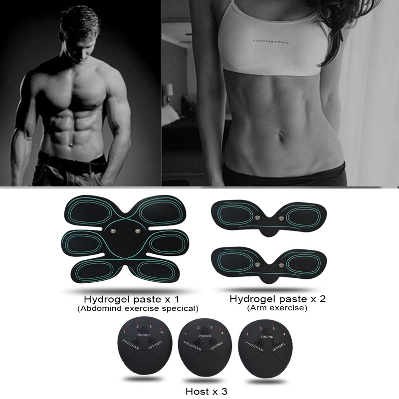 Free Shipping Wireless Muscle Stimulator EMS Trainer Pad Smart EMS Electric Pulse Massager Treatment Abdomen For Dropshipping 20 2017 hot sale mini electric massager digital pulse therapy muscle full body massager silver