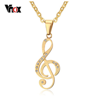 Vnox Musical Note Pendant Necklace Men Jewelry Trendy 18K Gold Black Plated CZ Stone Friends Necklace