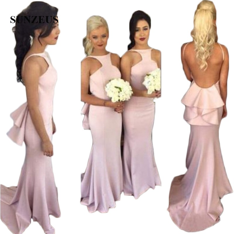 Backless Wedding Party Dresses for Women robe de demoiselle d'honneur Ruffles Back Pink Sexy Long Bridesmaid Dresses S277