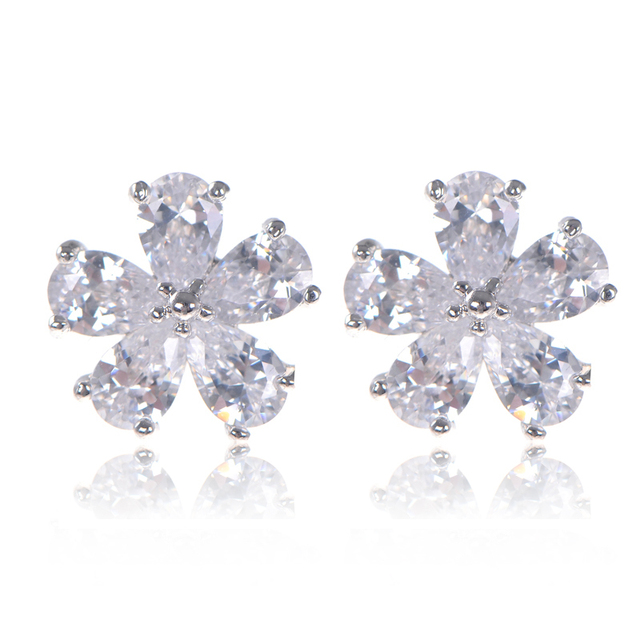White Gold Plated Cute Sun Flower Zirconia Diamond Snowflake Earrings Stud For Women Top Quality
