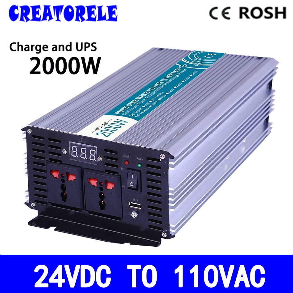 P2000-241-C 2000w UPS iverter 24vdc to 110vac Pure Sine Wave soIar iverter voItage converter with charger and UPS p800 481 c pure sine wave 800w soiar iverter off grid ied dispiay iverter dc48v to 110vac with charge and ups