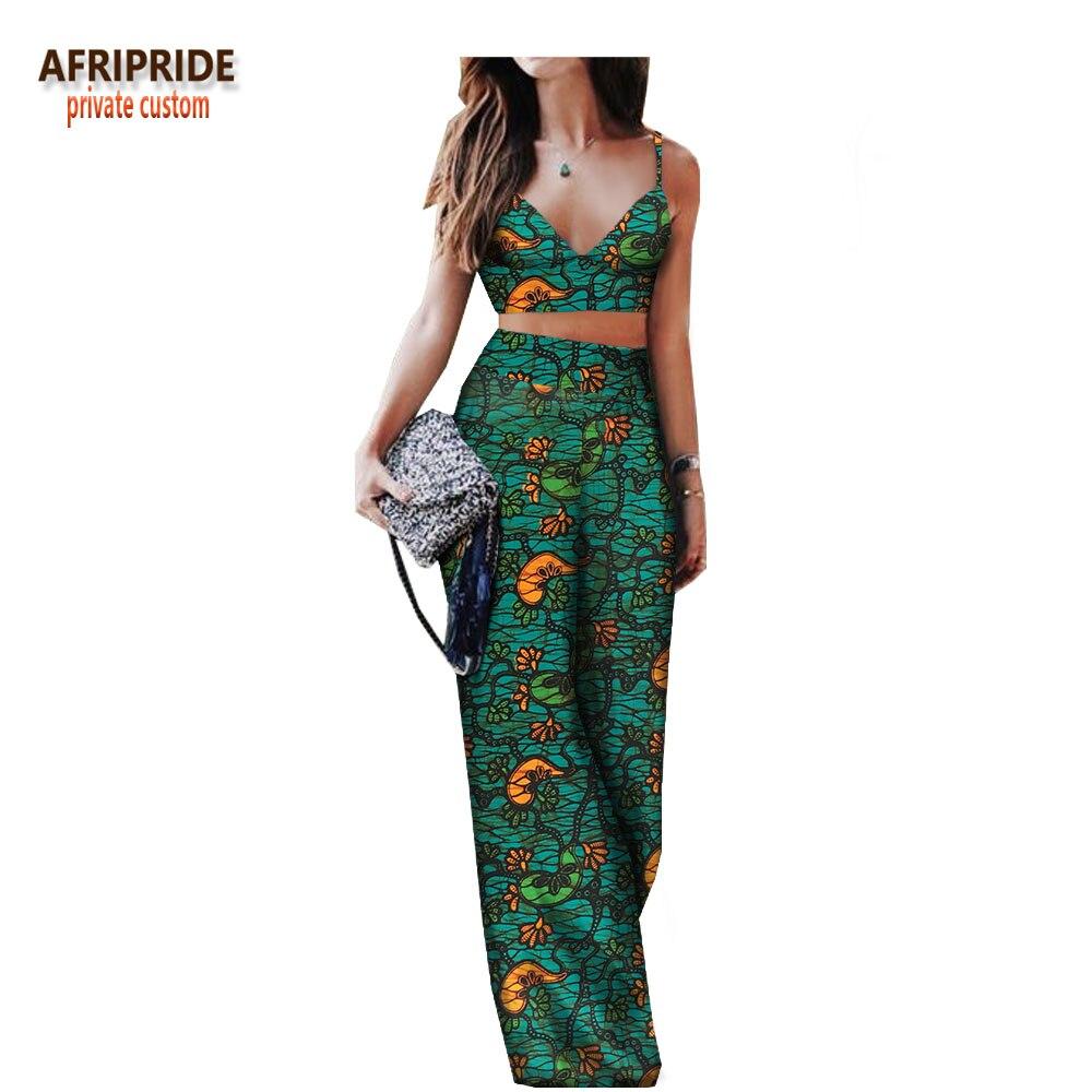 2018 Весна и лето Сексуальные комплект со штанами для женщин AFRIPRIDE рукавов Холтер короткий топ + полная длина свободные штаны женские комплект...