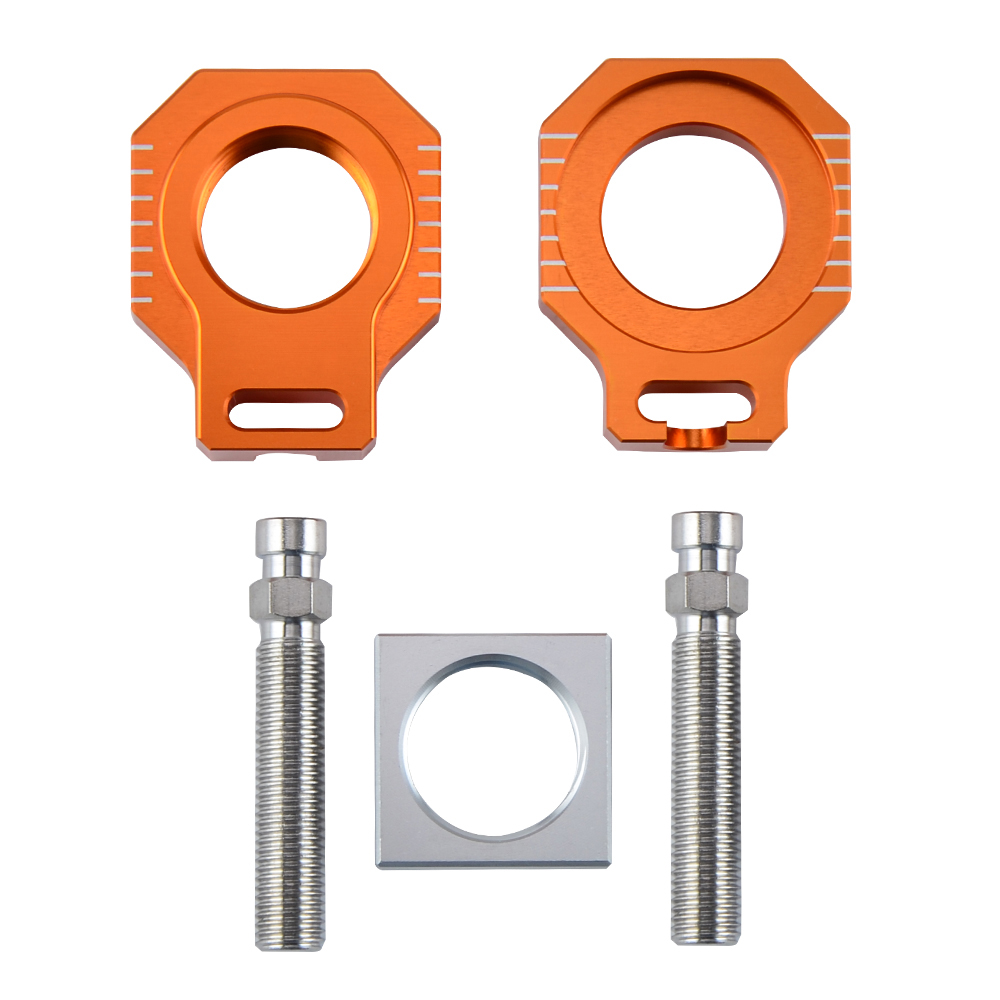 CNC Rear Axle Blocks Chain Adjuster For <font><b>KTM</b></font> 125 250 300 350 <font><b>450</b></font> 525 530 EXC EXC-F XC-W XCF-W 2000-2013 2014 2015 2016 <font><b>2017</b></font> 2018 image