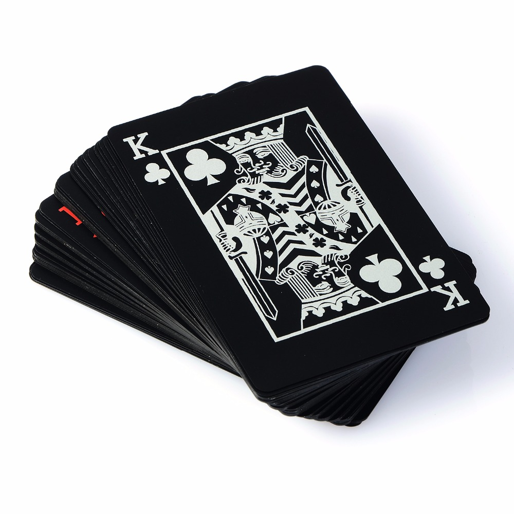 PVC Poker Cards Waterproof Texas Hold'em Playing Cards Black Plastic Game Card Poker Game Board Game Card Creative Gift